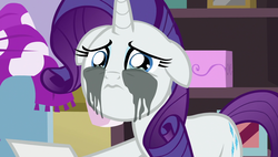 Size: 1920x1090 | Tagged: safe, screencap, rarity, pony, forever filly, crying, cute, female, floppy ears, looking at you, makeup, mare, marshmelodrama, mascara, mascarity, running makeup, sad, sadorable, solo
