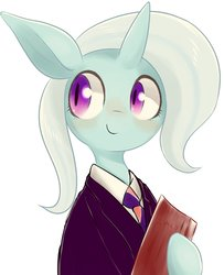 Size: 1308x1610 | Tagged: safe, artist:91o42, trixie, pony, unicorn, blushing, clothes, cute, diatrixes, female, happy, holding, looking away, mare, necktie, simple background, smiling, solo, suit, uniform, white background