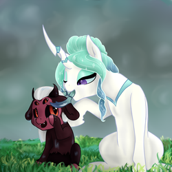 Size: 1920x1920 | Tagged: safe, artist:kaleysia, oc, oc only, oc:princess iridescence, oc:princess lucifer, hybrid, pony, pandoraverse, adoracreepy, creepy, crying, cute, cute little fangs, fangs, female, filly, four eyes, interspecies offspring, magical gay spawn, magical lesbian spawn, mandibles, mare, multiple eyes, next generation, offspring, one eye closed, parent:king sombra, parent:lord tirek, parent:princess celestia, parent:queen chrysalis, parents:chryslestia, parents:sombrek