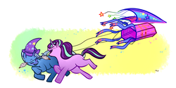 Size: 1280x642 | Tagged: safe, artist:artistotels, starlight glimmer, trixie, pony, unicorn, abstract background, clothes, duo, female, hat, kite, mare, startrix, that pony sure does love kites, trixie's hat