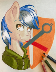 Size: 3004x3851 | Tagged: safe, artist:emberslament, oc, oc only, oc:bravery, pony, bust, clothes, colored pencils, high res, male, pencil, photo, portrait, solo, stallion, traditional art