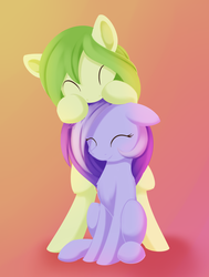 Size: 1025x1359 | Tagged: safe, artist:dusthiel, oc, oc only, oc:dust wind, oc:mellow moon, earth pony, pony, bipedal, cute, duo, eyes closed, female, floppy ears, gradient background, mare, ocbetes, sitting, smiling