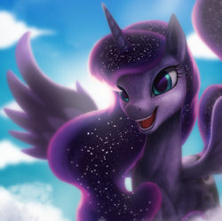 Size: 3000x2984   Tagged: safe, artist:starblaze25, princess luna, alicorn, pony, backlighting, cloud, female, fluffy, huzzah, lidded eyes, looking at you, mare, missing accessory, open mouth, prone, sky, smiling, solo, spread wings, sun, wings