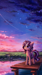 Size: 2000x3556 | Tagged: safe, artist:inowiseei, oc, oc only, pony, unicorn, cloud, cloudy, commission, cute, ear fluff, female, freckles, grass, looking up, mare, moon, night, ocbetes, outdoors, pier, reflection, scenery, shooting star, signature, sky, smiling, solo, standing, stars, twilight (astronomy), water