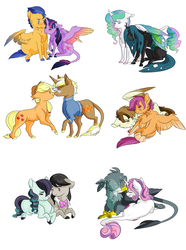 Size: 1624x2177 | Tagged: safe, artist:rhinestonearts, applejack, coloratura, featherweight, flash sentry, gabby, octavia melody, princess celestia, queen chrysalis, scootaloo, sweetie belle, trenderhoof, twilight sparkle, alicorn, changeling, griffon, pony, boop, chest fluff, chryslestia, clothes, colored wings, colored wingtips, cuddling, female, flashlight, gabbelle, hug, interspecies, leonine tail, lesbian, male, mare, nose piercing, nose ring, noseboop, older, piercing, scootaweight, shipping, simple background, stallion, straight, sweater, tail feathers, taviratura, tongue out, trenderjack, twilight sparkle (alicorn), white background, winghug