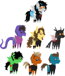 Size: 2284x2672 | Tagged: safe, artist:lightningbolt, derpibooru exclusive, oc, changeling, cobra, earth pony, hybrid, original species, pegasus, pony, snake pony, unicorn, .svg available, bags under eyes, bow, brent wilson, chest fluff, choker, clandestine industries, clothes, cobra starship, ear fluff, ear piercing, earring, eyeliner, face paint, fangs, female, forked tongue, frown, gabe saporta, green day, grin, hair over one eye, hood, hoodie, jewelry, makeup, male, mare, mike dirnt, necklace, piercing, pointy ponies, ponified, sad, shirt, shoes, simple background, smiling, socks, spiked choker, spiked wristband, stallion, svg, t-shirt, tail bow, tanktop, tattoo, the academy is..., tongue out, transparent background, trap, tré cool, vector, wavy mane, william beckett, wristband