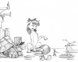 Size: 1400x1121   Tagged: safe, artist:baron engel, apple bloom, oc, oc:galapagos, oc:king trafalgar maximilian augustus leopold iii, mouse, tortoise, anthro, anthro oc, castle, clothes, deviled eggs, dream, egg, food, grayscale, hat, monochrome, pencil drawing, shako, simple background, story included, sword, traditional art, weapon, white background