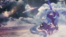 Size: 1920x1080   Tagged: safe, artist:equestria-prevails, artist:rizcifra, artist:vipeydashie, edit, princess celestia, princess luna, alicorn, pony, female, filly, mare, photoshop, snow, space, wallpaper, wallpaper edit, woona, younger