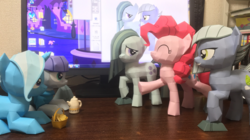 Size: 2016x1131 | Tagged: safe, artist:robi, limestone pie, marble pie, maud pie, pinkie pie, trixie, pony, unicorn, craft, female, food, irl, mare, muffin, papercraft, photo