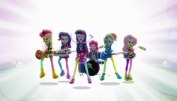 Size: 1904x1090 | Tagged: safe, screencap, applejack, fluttershy, pinkie pie, rainbow dash, rarity, twilight sparkle, equestria girls, rainbow rocks, balloon, bass guitar, boots, cowboy boots, cymbals, drum kit, drums, drumsticks, electric guitar, eyes closed, female, guitar, high heels, humane five, humane six, keytar, lidded eyes, logo, microphone, musical instrument, rainbow rocks outfit, tambourine, wallpaper, welcome to the show