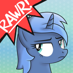 Size: 5000x5000 | Tagged: safe, artist:djdavid98, oc, oc only, oc:paamayim nekudotayim, pony, unicorn, absurd resolution, avatar, i can't believe it's not lumineko, rawr, rawrvatar, shading, shading practice, simple background, solo, unamused, vector