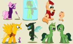 Size: 4584x2796 | Tagged: absurd res, alicorn, artist:pupster0071, buddhist monkey, changeling, cro-marmot, cub, earth pony, happy tree friends, lifty, ninja, ponified, pony, pop, safe, shifty, the mole, unicorn
