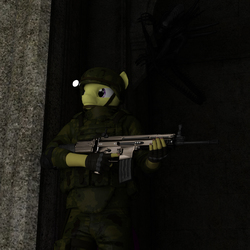 Size: 2040x2040   Tagged: safe, artist:jawolfadultishart, oc, oc only, alien, earth pony, xenomorph, anthro, 3d, alien (franchise), assault rifle, castle, clothes, daz studio, gun, helmet, horror, impending disaster, impending doom, impending mutilation, it's behind you, male, nightmare fuel, not sfm, rifle, scar-l, soldier, solo, this already ended in death, this will end in death, weapon, when you see it