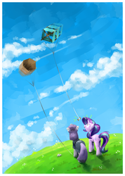 Size: 1120x1572   Tagged: safe, artist:amazingbutterfingers, maud pie, starlight glimmer, pony, rock solid friendship, kite, that pony sure does love kites