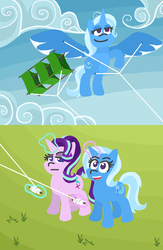 Size: 520x800   Tagged: safe, artist:threetwotwo32232, starlight glimmer, trixie, alicorn, pony, rock solid friendship, alicornified, comic, happy, kite, kite flying, magic, narcissism, race swap, starlight is not amused, that pony sure does love kites, trixiecorn, unamused