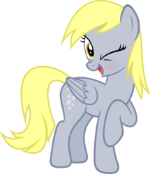 Size: 3871x4500   Tagged: safe, artist:slb94, derpy hooves, pegasus, pony, absurd resolution, blushing, cute, female, flirty, mare, one eye closed, raised hoof, simple background, solo, transparent background, vector, wink