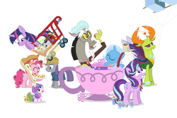 Size: 949x630   Tagged: safe, artist:dm29, discord, maud pie, pinkie pie, princess flurry heart, starlight glimmer, thorax, trixie, twilight sparkle, whammy, alicorn, changedling, changeling, pony, a flurry of emotions, all bottled up, celestial advice, rock solid friendship, anger magic, bottled rage, cinnamon nuts, cup, equestrian pink heart of courage, food, helmet, jalapeno red velvet omelette cupcakes, king thorax, kite, magic, mining helmet, pizza costume, pizza head, reformed four, shopping cart, simple background, stingbush seed pods, teacup, that pony sure does love kites, that pony sure does love teacups, the meme continues, the story so far of season 7, this isn't even my final form, twilight sparkle (alicorn), wall of tags, white background