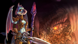 Size: 2000x1125   Tagged: safe, artist:nemo2d, dragon lord torch, princess ember, dragon, anthro, gauntlet of fire, armor, belly button, bloodstone scepter, breasts, dragon lord ember, dragoness, duo, father and daughter, female, serious, serious face, sword, unconvincing armor, weapon