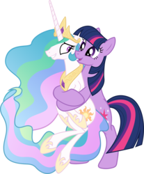 Size: 4972x6000 | Tagged: safe, artist:magister39, princess celestia, twilight sparkle, alicorn, earth pony, pony, absurd resolution, alternate universe, duo, earth pony twilight, female, hug, mare, race swap, simple background, smiling, tall, teacher and student, transparent background