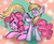 Size: 1024x832 | Tagged: safe, artist:confuddling, derpy hooves, pinkie pie, pony, derpypie, female, lesbian, mare, prone, shipping