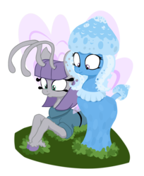 Size: 1649x2017 | Tagged: safe, artist:paskanaakka, derpibooru exclusive, maud pie, trixie, breezie, mushroom pony, original species, breeziefied, colored hooves, female, lesbian, mauxie, mauzie, mushroom, prone, shipping, shroomsie, simple background, species swap, transparent background, unshorn fetlocks