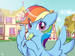 Size: 1024x768 | Tagged: safe, artist:haden-2375, rainbow dash, pegasus, pony, blushing, cute, dashabetes, female, food, hnnng, hoof hold, looking at you, mare, nom, popsicle, puffy cheeks, solo, spread wings, underhoof, wide eyes, wings