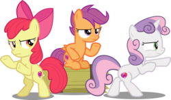 Size: 10982x6428 | Tagged: safe, artist:jhayarr23, apple bloom, scootaloo, sweetie belle, earth pony, pegasus, pony, unicorn, hard to say anything, absurd resolution, bipedal, bow, charlie's angels, cutie mark, cutie mark crusaders, female, filly, hair bow, mare, serious, serious face, shimmering spectacles, simple background, the cmc's cutie marks, transparent background, trio, trio female, vector