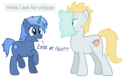 Size: 8192x5266 | Tagged: safe, artist:djdavid98, oc, oc only, oc:paamayim nekudotayim, oc:star farer, earth pony, pony, unicorn, absurd resolution, excited, greentext, jumping, magic, paper, simple background, text, transparent background, vector