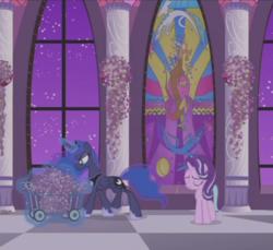 Size: 784x717   Tagged: safe, screencap, discord, princess celestia, princess luna, starlight glimmer, alicorn, pony, unicorn, a royal problem, duo, ethereal mane, female, flower, lavender, magic, mare, stained glass, telekinesis, window