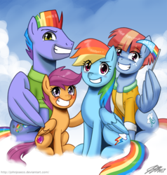 Size: 900x947 | Tagged: safe, artist:johnjoseco, bow hothoof, rainbow dash, scootaloo, windy whistles, pegasus, pony, awkward smile, blushing, clothes, cloud, cute, cutealoo, dashabetes, eye clipping through hair, family, female, filly, grin, looking at you, male, mare, pennant, rainbow dash's parents, scootalove, shirt, sky, smiling, smirk, spread wings, squee, stallion, windyhoof, wing hands, wings