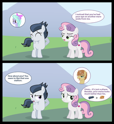 Size: 2428x2656 | Tagged: safe, artist:lunaticdawn, edit, feather bangs, flitter, rumble, sweetie belle, pony, hard to say anything, :t, colt, comic, eyes closed, female, filly, flitterumble, jealous, male, rumbelle, shipping, straight, straight shota, sweetiebangs, vector