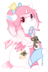 Size: 677x1020 | Tagged: artist:otpl, artist:pastel-pony-princess, bow, collar, colored wings, colored wingtips, floating crown, floppy ears, hair bow, heart eyes, heterochromia, mouth hold, oc, oc:dream star, oc only, pony, safe, short tail, simple background, sitting, solo, sparkly mane, teddy, transparent background, warmers, wingding eyes