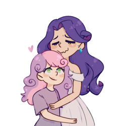 Size: 632x632 | Tagged: safe, artist:mochietti, rarity, sweetie belle, human, crying, happy, heart, hug, humanized, simple background, sisters, white background