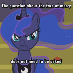 Size: 1083x1079 | Tagged: a royal problem, cropped, crossing the memes, edit, edited screencap, face of mercy, grumpy, grumpy luna, meme, pony, princess luna, safe, scowl, screencap, solo, subversion, subverted meme