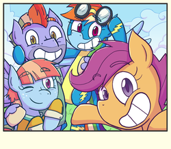 Size: 1920x1670 | Tagged: safe, artist:zanefir-dran, bow hothoof, rainbow dash, scootaloo, windy whistles, pegasus, pony, parental glideance, clothes, colored pupils, family, female, filly, goggles, looking at you, male, mare, one eye closed, rainbow dash's parents, scootalove, smiling, stallion, uniform, windyhoof, wink, wonderbolts uniform
