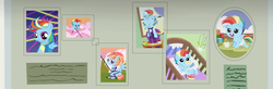Size: 3298x1080 | Tagged: safe, screencap, rainbow dash, windy whistles, pegasus, pony, parental glideance, baby, baby dash, baby pony, braces, building blocks, child harness, child leash, crib, cute, dashabetes, diaper, female, filly, filly rainbow dash, flying, foal, harness, headgear, highchair, indoors, leash, looking at you, mare, open mouth, pacifier, photo, photo album, scrapbook, sitting, smiling, spread wings, tack, wide, wings, younger