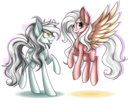 Size: 1600x1309 | Tagged: safe, artist:snowbunny0820, oc, oc only, oc:emily, oc:jasmine, earth pony, pegasus, pony, female, mare, simple background, transparent background