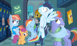 Size: 1260x760 | Tagged: safe, artist:dm29, bow hothoof, rainbow dash, scootaloo, shining armor, soarin', spitfire, windy whistles, pegasus, pony, unicorn, parental glideance, backwards cutie mark, clothes, double facehoof, embarrassed, eyes closed, facehoof, female, frown, funny background event, grin, gritted teeth, kiss mark, lidded eyes, lipstick, literal butthurt, locker room, looking down, male, mare, microphone, mirror, mouth hold, nervous, on back, pain, rainbow dash's parents, raised eyebrow, shipping, sitting, smiling, soarindash, spanking, spitshine, spread wings, stallion, straight, tied up, towel, towel snap, wide eyes, windyhoof, wings, wonderbolts headquarters
