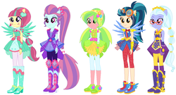 Size: 1110x598 | Tagged: safe, artist:ra1nb0wk1tty, indigo zap, lemon zest, sour sweet, sugarcoat, sunny flare, equestria girls, legend of everfree, arm warmers, boots, bowtie, clothes, clothes swap, crystal guardian, crystal prep shadowbolts, crystal wings, ear piercing, earring, female, glasses, gloves, goggles, headband, heart, high heel boots, jewelry, necklace, pendant, piercing, ponied up, pony ears, ponytail, shadow five, shoes, simple background, skirt, sneakers, stars, super ponied up, white background, wings