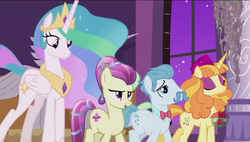 Size: 1600x908 | Tagged: safe, screencap, annoyed delegate, fleur de verre, princess celestia, tropical dream, alicorn, crystal pony, earth pony, pony, unicorn, a royal problem, female, male, mare, stallion