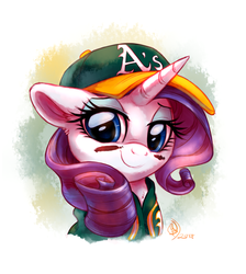 Size: 2600x2900 | Tagged: safe, artist:whitediamonds, rarity, pony, unicorn, baseball cap, bust, cap, clothes, commission, cute, eye black (makeup), eyeshadow, face paint, female, floppy ears, hat, makeup, mare, mlb, oakland athletics, portrait, raribetes, shirt, simple background, smiling, solo, sports, white background