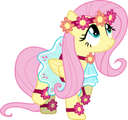 Size: 3145x2946 | Tagged: safe, artist:eagle1division, fluttershy, pegasus, pony, rainbow falls, clothes, cute, dress, female, flower, flower in hair, mare, raised hoof, raised leg, shyabetes, simple background, solo, transparent background, vector