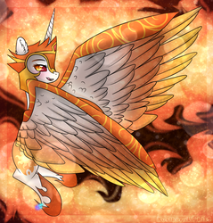Size: 1024x1071 | Tagged: safe, artist:northlights8, daybreaker, pony, a royal problem, fire, flying, licking, licking lips, signature, solo, tongue out