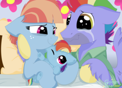 Size: 6072x4392 | Tagged: safe, artist:glitterstar2000, bow hothoof, rainbow dash, windy whistles, pony, parental glideance, absurd resolution, baby, baby dash, baby pony, birth, chest fluff, clothes, crying, family, father and daughter, female, foal, male, mare, mother and daughter, one eye closed, rainbow dash's parents, smiling, stallion, tears of joy, wavy mouth, windyhoof, younger