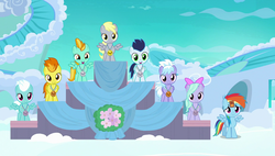 Size: 1920x1090 | Tagged: cloudchaser, derpy hooves, female, filly, filly derpy, fleetfoot, flitter, lightning dust, medal, parental glideance, podium, pony, rainbow dash, safe, screencap, soarin', spitfire, spread wings, underp, wingboner, wings, younger