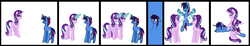 Size: 7728x1432 | Tagged: safe, artist:midnightamber, starlight glimmer, oc, oc:marquis majordome, pony, unicorn, absurd resolution, aftercare, canon x oc, comic, cute, duality, eyes closed, feather, female, fetish, glasses, male, mare, massage, similo duplexis, stallion, stardome, straight, tickle fetish, tickle torture, tickling, underhoof