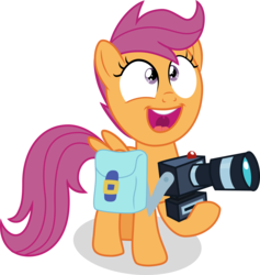 Size: 4752x5013 | Tagged: safe, artist:shutterflyeqd, scootaloo, pony, parental glideance, absurd resolution, camera, excited, female, filly, saddle bag, simple background, smiling, solo, transparent background, vector