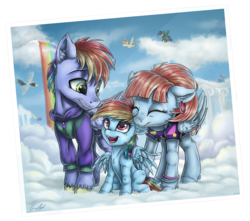 Size: 3773x3337 | Tagged: safe, artist:gaelledragons, bow hothoof, rainbow dash, windy whistles, pony, clothes, cloud, cloudsdale, cute, eyes closed, family, father and daughter, female, filly, filly rainbow dash, male, mare, mother and daughter, photo, rainbow dash's parents, rainbow waterfall, stallion, younger