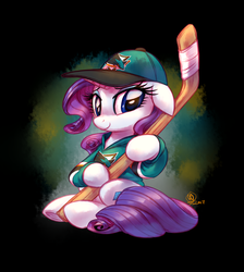 Size: 2600x2900 | Tagged: safe, artist:whitediamonds, rarity, pony, clothes, commission, female, hat, hockey, hockey stick, ice hockey, jersey, nhl, san jose sharks, shirt, solo, sports