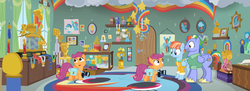 Size: 2980x1080 | Tagged: safe, screencap, bow hothoof, rainbow dash, scootaloo, windy whistles, pony, parental glideance, dashmentos, panorama, rainbow dash's parents